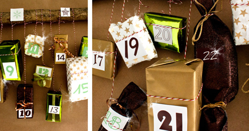 Anleitung ausgefallener Adventskalender mit Hängenden Geschenkpaketen zum selber basteln