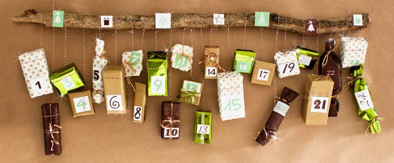 Anleitung ausgefallener Adventskalender mit Hängenden Geschenkpaketen zum selber machen