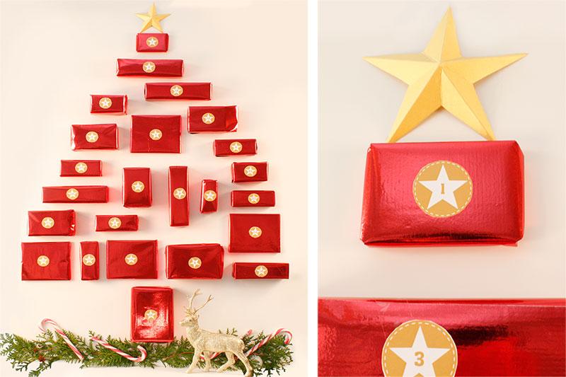 Anleitung Tannenbaum Adventskalender mit Paketen in rot zum selber basteln