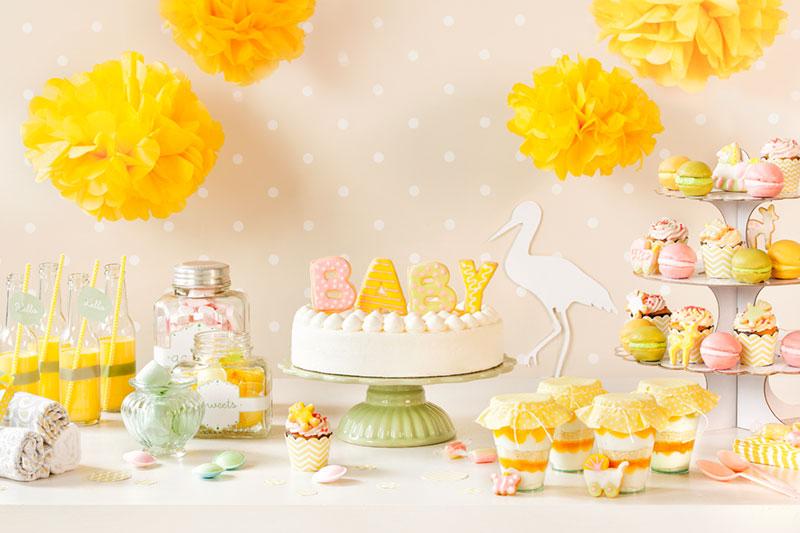 Babyparty Torte und Dekorationen Rezept zum selbermachen und verzieren