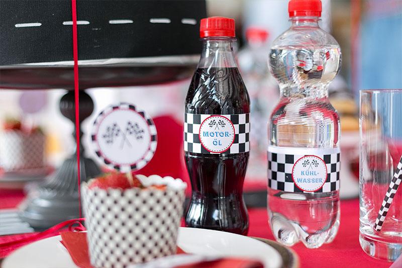 Getränke als Kindergeburtstag Dekoration selber gestalten und dekorieren