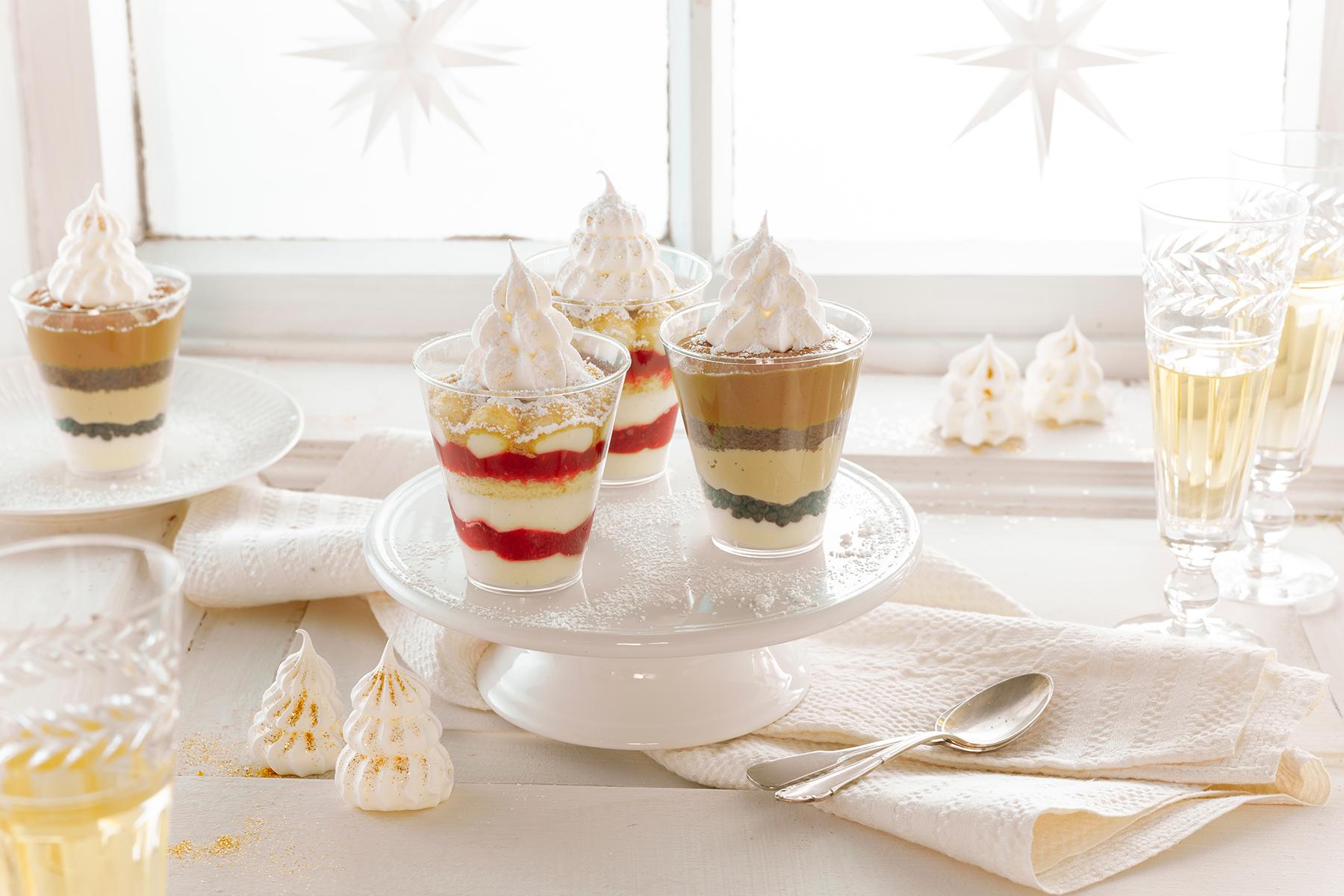 Dessert mit Baiser-Tanne
