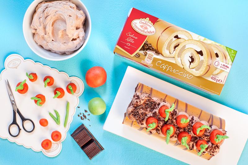 Biskuitrolle mit Möhren dekorieren 6
