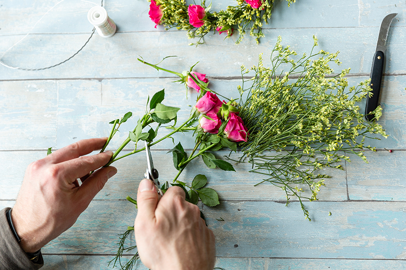 How to: Blumenkranz als Tortendeko 8