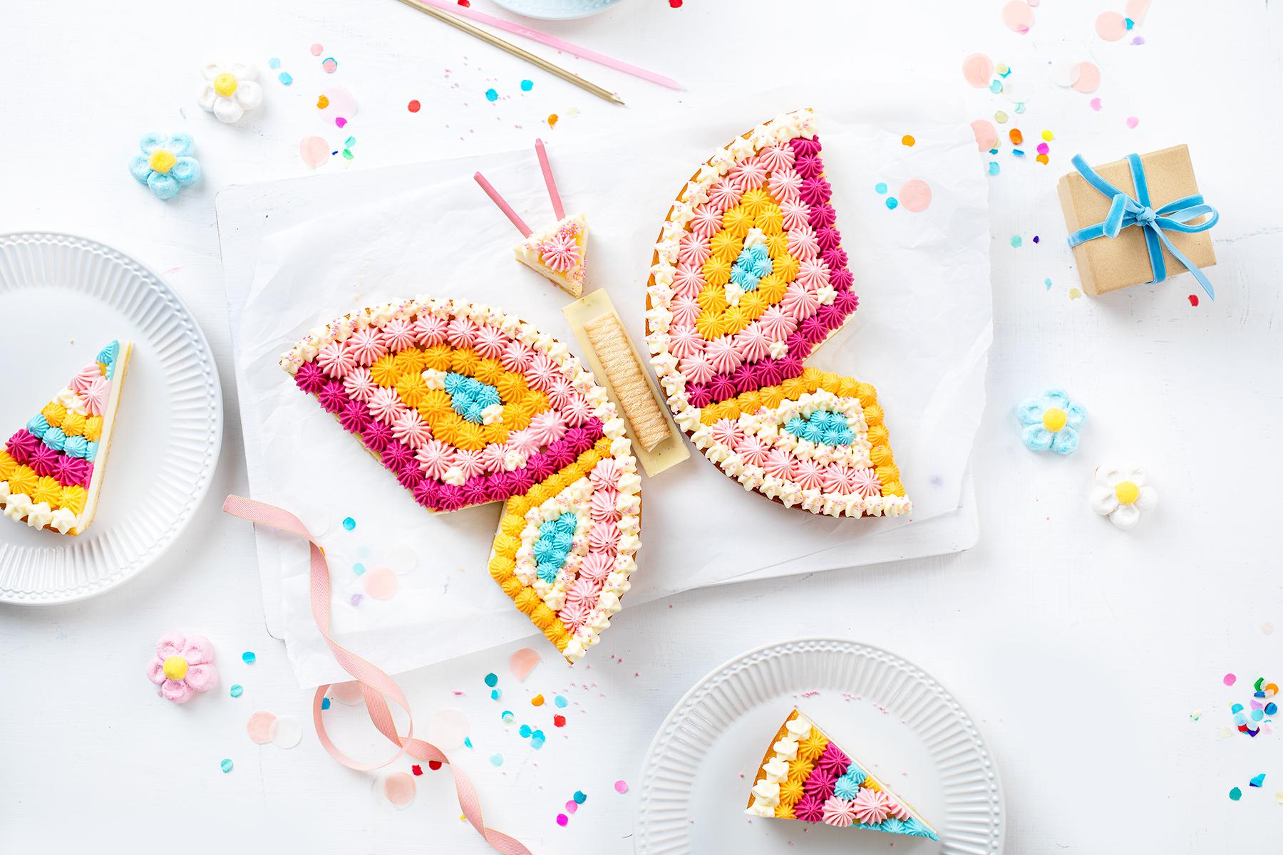 Schmetterlingskuchen zum Kindergeburtstag