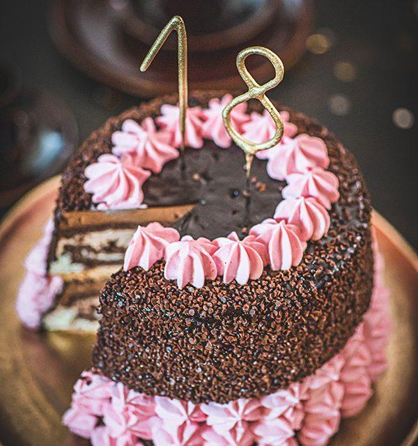 Torte zum 18. Geburtstag: Schokoladentorte mit Wunderkerzen 27