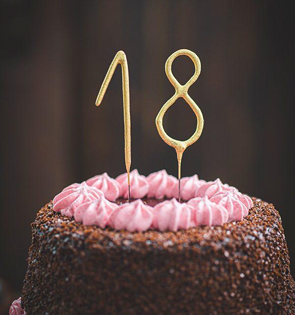 Torte zum 18. Geburtstag: Schokoladentorte mit Wunderkerzen 8