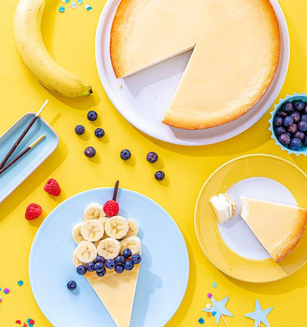 Kreatives Essen für Kinder: Eistüte aus Käsekuchen und Obst 9