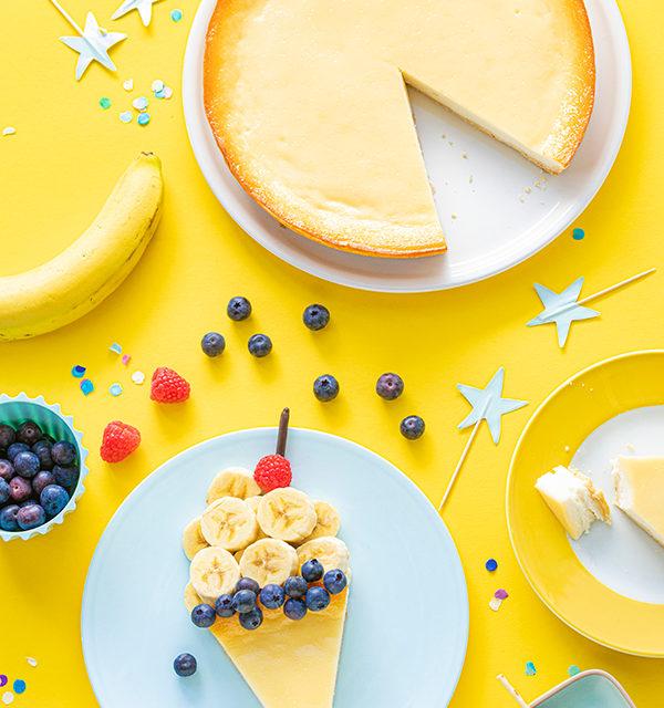 Kreatives Essen für Kinder: Eistüte aus Käsekuchen und Obst 24