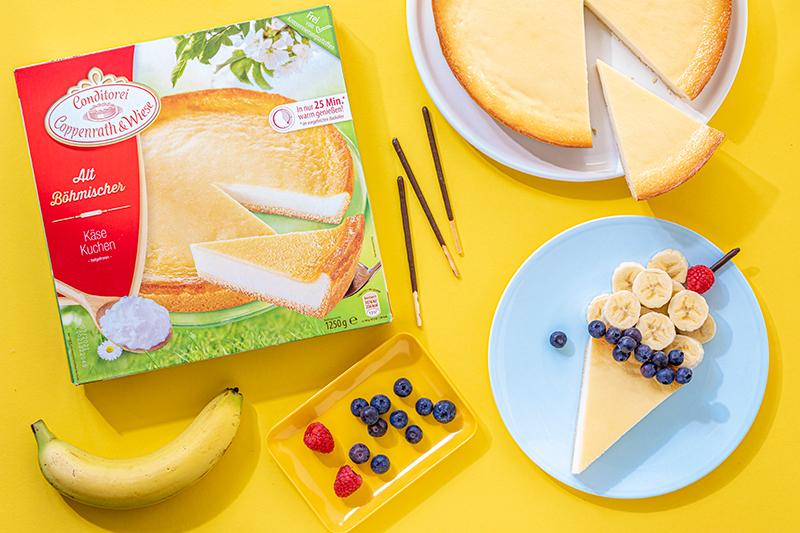 Kreatives Essen für Kinder: Eistüte aus Käsekuchen und Obst 25
