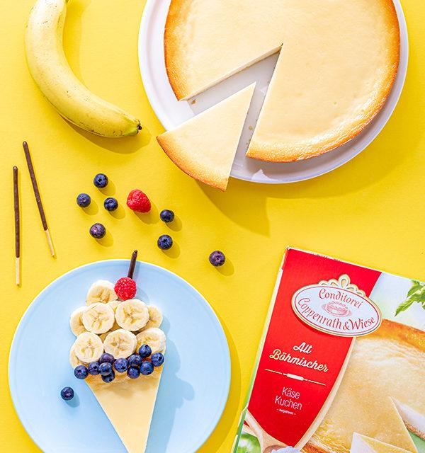 Kreatives Essen für Kinder: Eistüte aus Käsekuchen und Obst 4