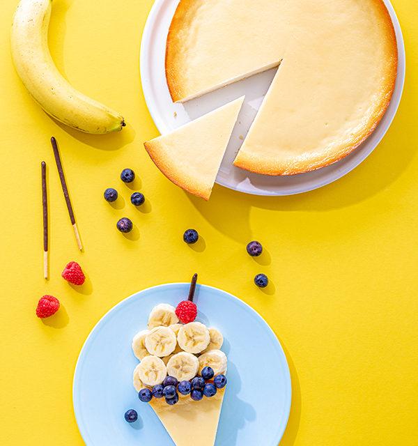 Kreatives Essen für Kinder: Eistüte aus Käsekuchen und Obst 5