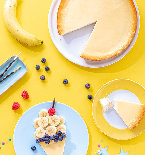 Kreatives Essen für Kinder: Eistüte aus Käsekuchen und Obst 7