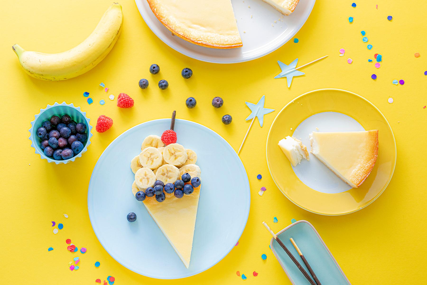 Kreatives Essen für Kinder: Eistüte aus Käsekuchen und Obst
