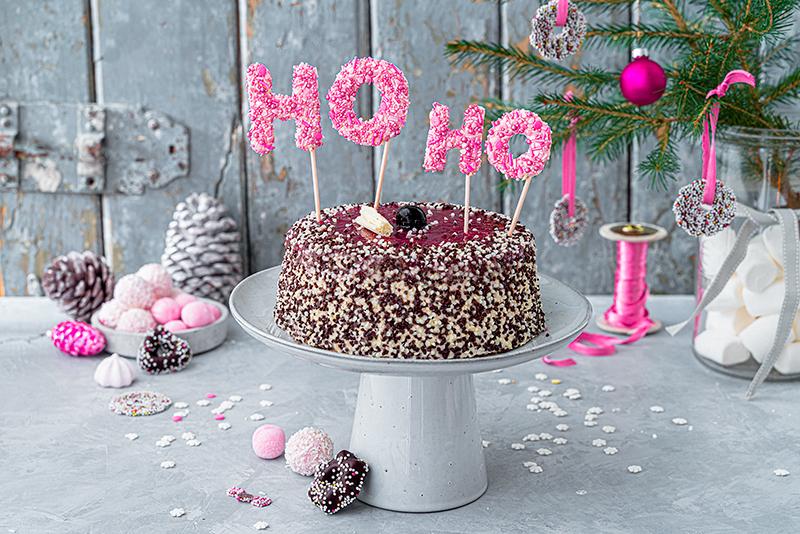 Hohoho-Christmascaketopper für unsere Stracciatella-Kirsch-Torte 40