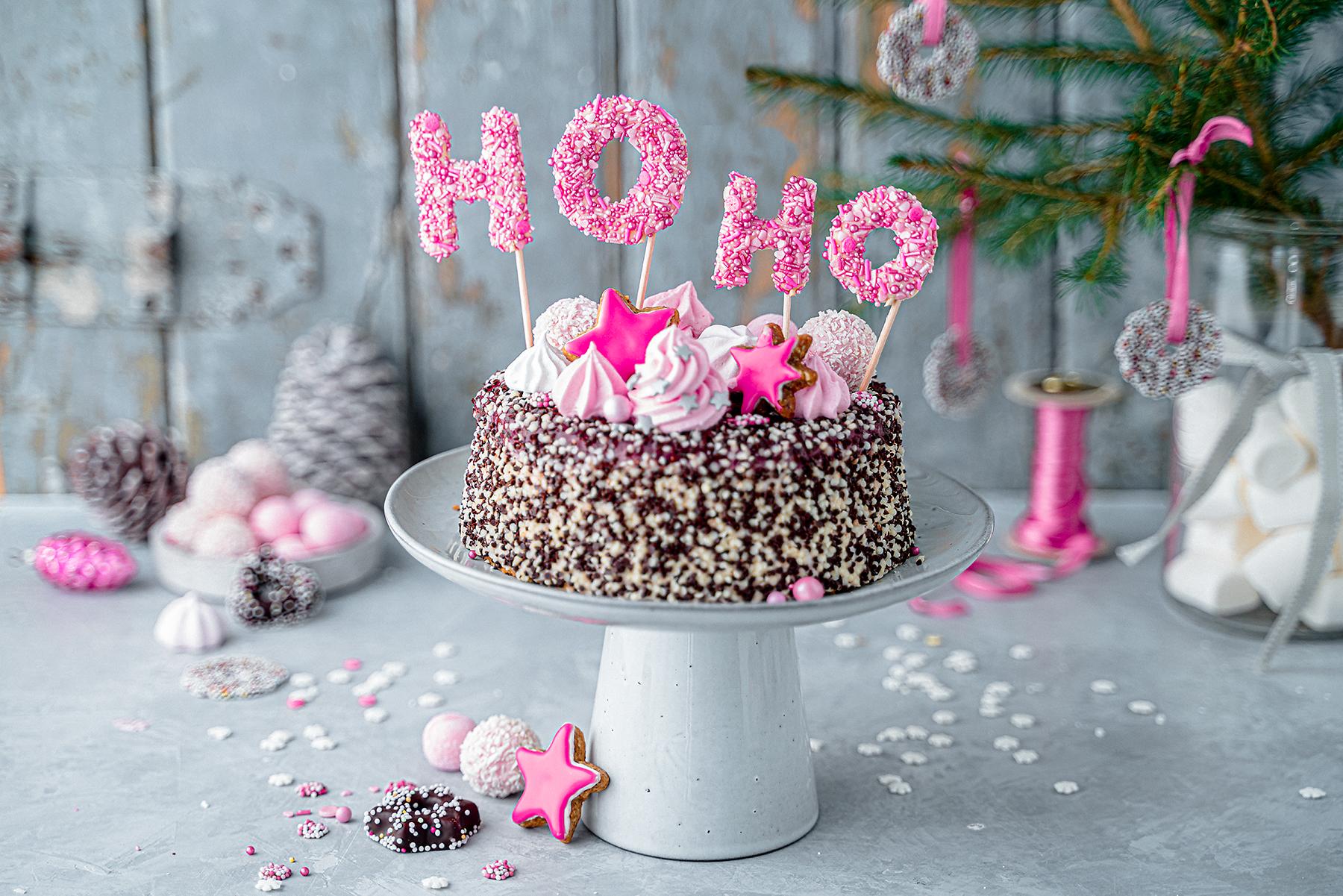 Hohoho-Christmascaketopper für unsere Stracciatella-Kirsch-Torte