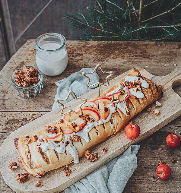 Veganes Weihnachtsrezept: Apfelstrudel mit Cashew-Vanillesoße 8
